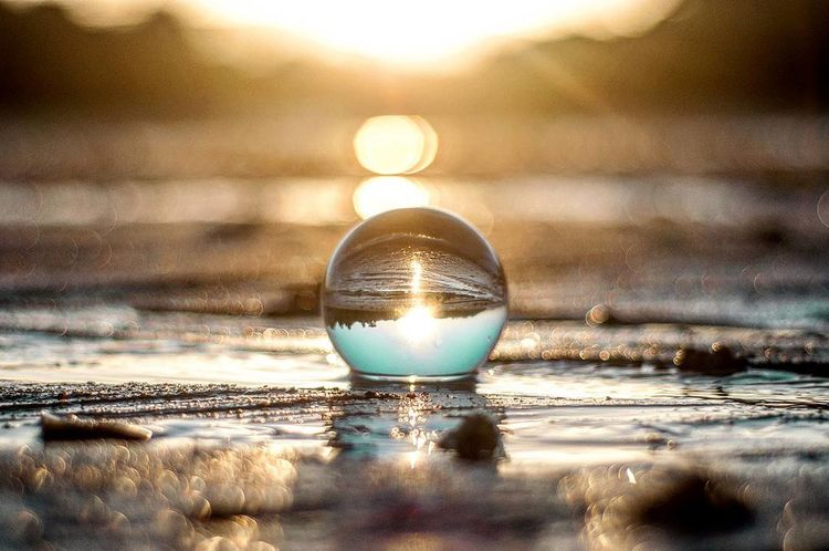 Lonely reflection Reflection Water Selective Focus Shiny Single Object Backgrounds Drop Fragility Crystal Ball Drinking Glass Close-up No People Cold Temperature Gold Colored Illuminated Vacations Defocused Nature Indoors  Day