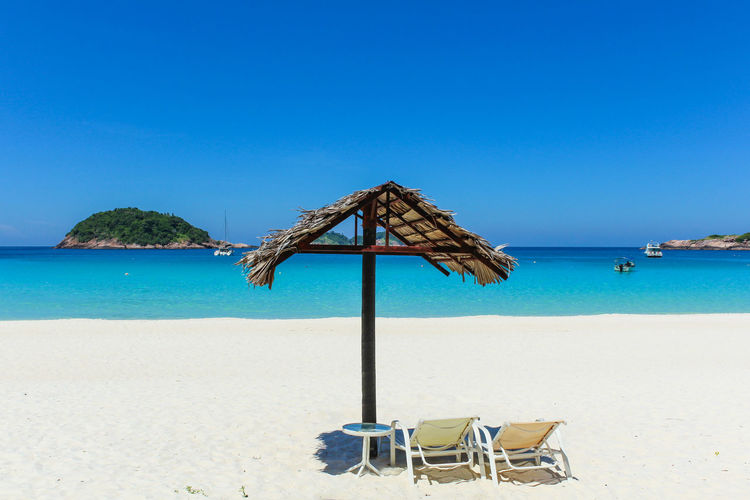 ASIA Redang Island Beach Beauty In Nature Blue Chair Clear Sky Day Horizon Over Water Malaysia Nature No People Outdoors Sand Scenics Sea Shore Sky Summer Thatched Roof Tranquil Scene Tranquility Vacations Water