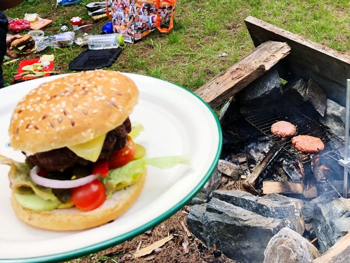 Barbecue Camping Campinglife Sandwich Burger Fast Food Ready-to-eat Food Food And Drink Unhealthy Eating Hamburger Meat Close-up Tomato Bun Day Bread Plate Table