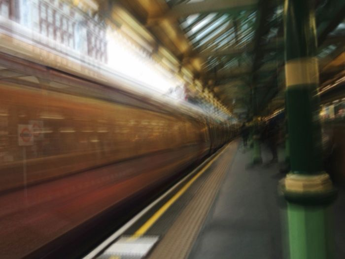 Blurred Motion Transportation Speed Motion Rail Transportation Railroad Station Platform Train Indoors  Public Transportation Illuminated Mode Of Transport Railroad Station Long Exposure No People Day