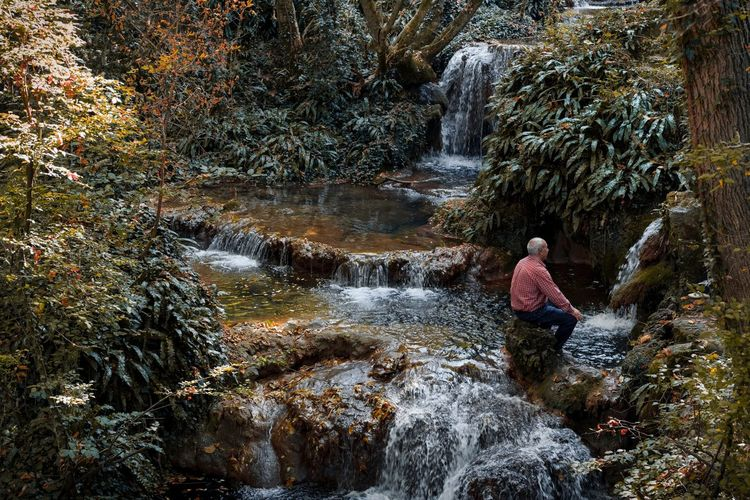 Side View Of Man Sitting On Rock By Waterfall In Forest