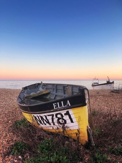 Fishing Boat Sussex Eastbourne Beach Fishing Boat Fishing Seaside Sky Water Communication Beach Sea Clear Sky Land Text Copy Space Tranquil Scene Outdoors