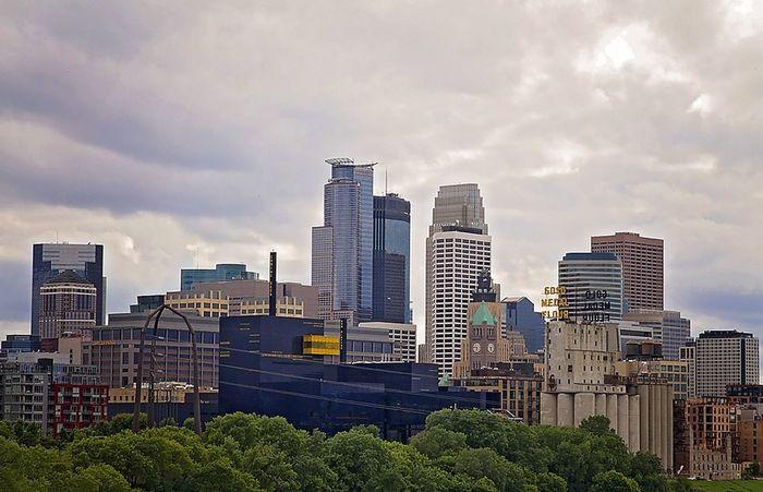 Minneapolis Buildings Buildings & Sky Skyline Minneapolis Minnesota View Minneapolis Skyline Clouds And Sky Structures