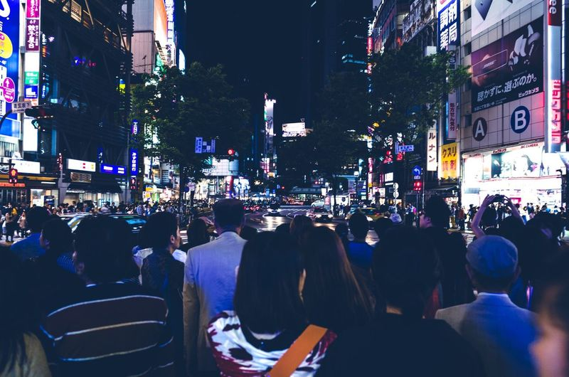 Streetphotography City Cityscapes People Night Light And Shadow Japan Tokyo Shibuya Sound Of Life