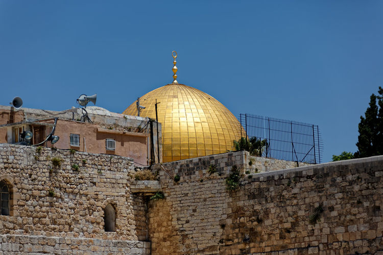 Dome of the rock against clear blue sky