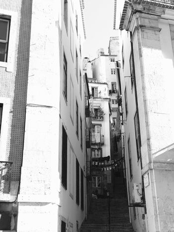 Lisboa... Building Exterior Architecture City Lisbon No People Built Structure Outdoors Day Balcony Lisboa Blackandwhite Black And White Architecture Old Buildings