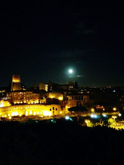 Ruins Rome Ruins Moon Full Moon Travel