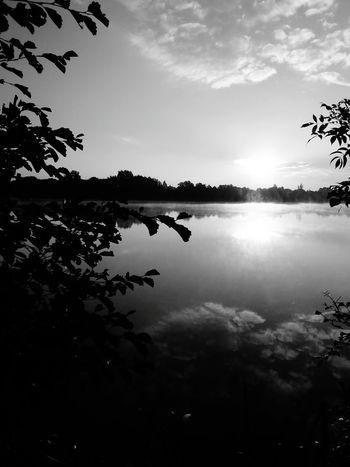 Un ovni à l'horizon Dramatic Angles Lac Lake Blue Sky Ciel Bleu Black And White Photography Landscape Rennes France Ovni ? Monochrome Photography