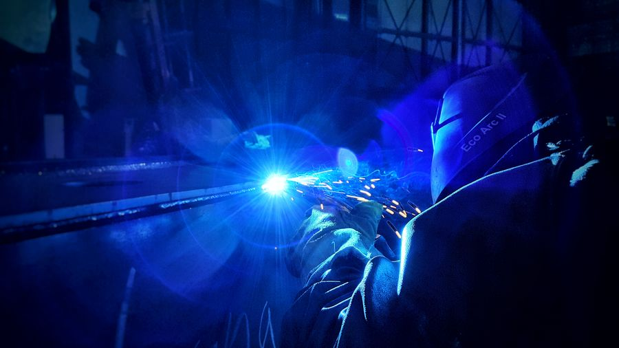 ... Steel Structure  Work Ndt Welder Fabric Reflection Lights Shadows Shadow Light Blue Indoors  People Adult