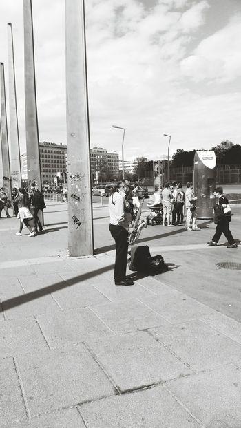 People Watching Streetmusician Black&white Praterstern Walking Around
