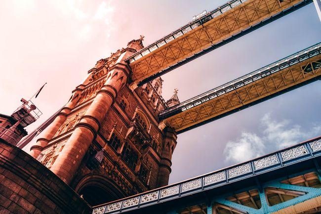 London Londonbridge Uk Londontowerbridge Tower Bridge  Architecture Low Angle View Built Structure Sky Bridge - Man Made Structure Connection Building Exterior Outdoors Travel Destinations Cloud - Sky Day City No People
