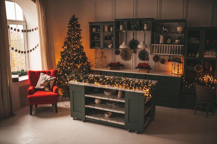 Illuminated christmas tree at home