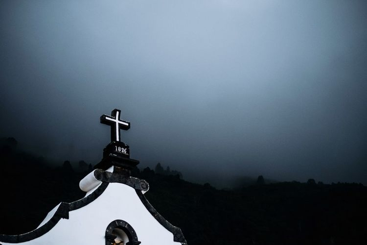 Creepy Church in a little village Travel Sky Nature Low Angle View Outdoors No People Belief Architecture Religion Silhouette Dusk Day Spirituality Built Structure