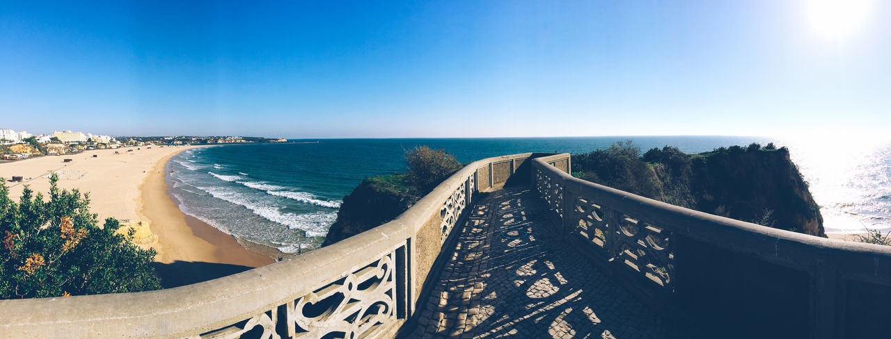 Ocean View Beauty In Nature Blue Clear Sky Coastline EyeEm Best Shots Horizon Horizon Over Water Idyllic IPhoneography Nature Ocean View Outdoors Panoramic Panoramic Photography Pedestrian Walkway Portugal Scenics Sea Shore Sky The Way Forward Tourism Tranquil Scene Tranquility Water