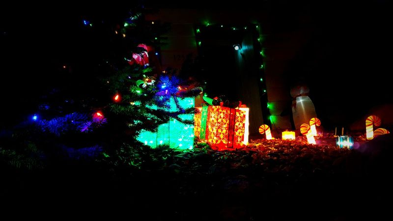 Illuminated Night Christmas Lights Multi Colored Christmas Decoration Christmas Celebration Lighting Equipment Christmas Tree Tradition No People Outdoors Sky Christmas Ornament Gifts ❤ Festive Season Decorations 🎭 Holiday Spirit Traditon Tree Night Time Photography Lights Seasonal Tis The Season At Night🌙