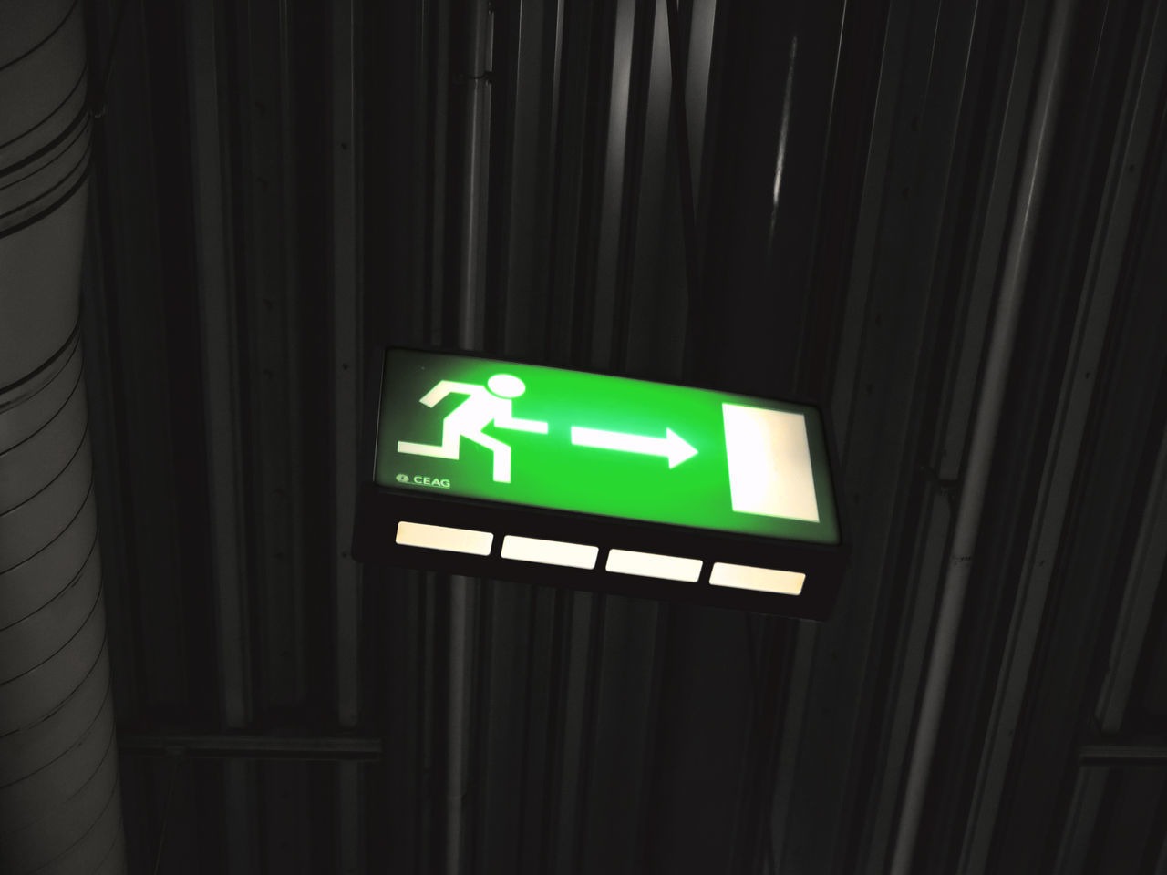 Close-up Communication Day Exit Sign Green Color Guidance Illuminated Indoors  No People Safety Urgency