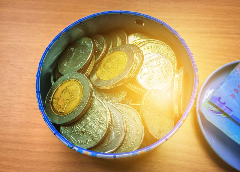 Saving money for life, Samutkhon Thailand, Close-up Day High Angle View Indoors  Money Save Saving Money Savings