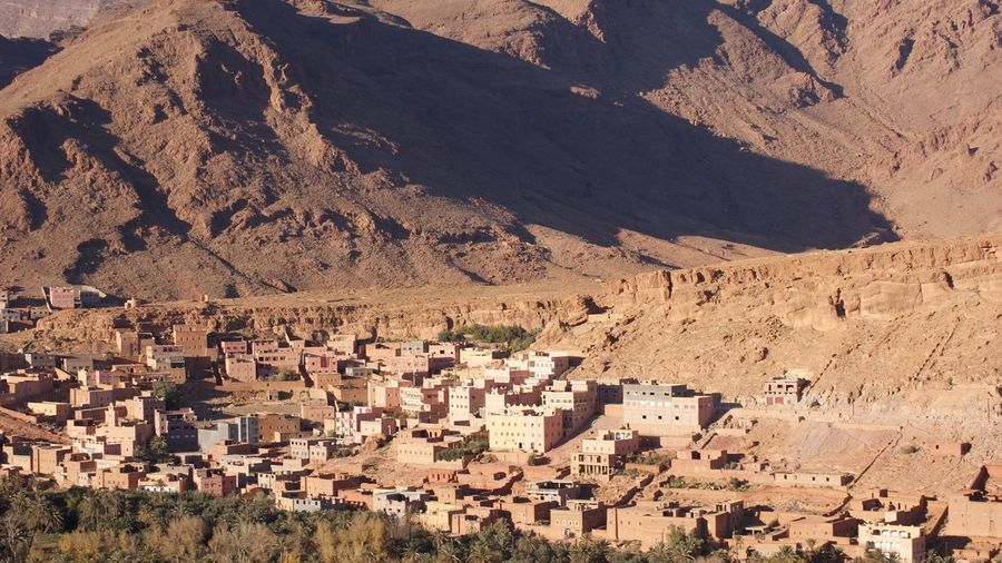 Aerial view of town on mountain