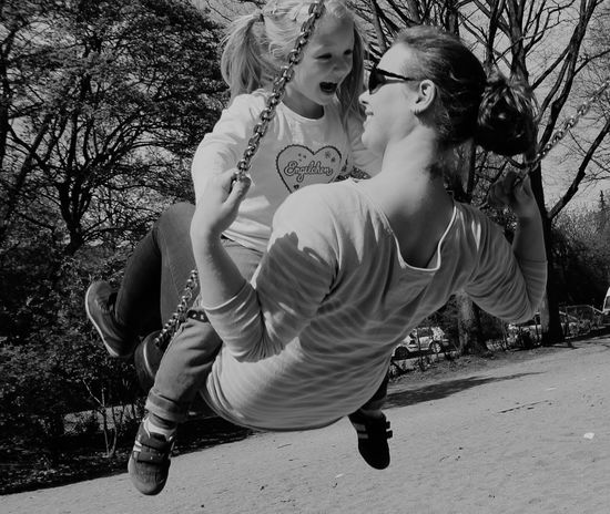 TwentySomething What I Value Family Portrait Quality Time Having Fun Playground Having Fun Swinging RePicture Motherhood Better Together B&W Portrait spending quality time with my little daughter and having fun together is the best thing in life :) happy day