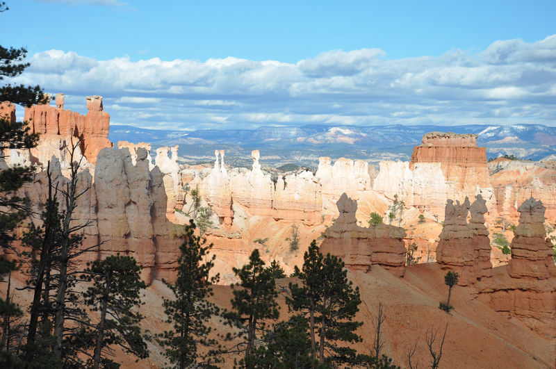 Bryce canyon national park against cloudy sky