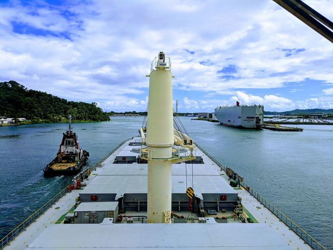 Nautical Theme Cargo Ship Life Onboard Sea Waves Tugboat Water Nautical Vessel Sky Cloud - Sky Container Ship Cargo Container Industrial Ship Freight Transportation Loading Shipping