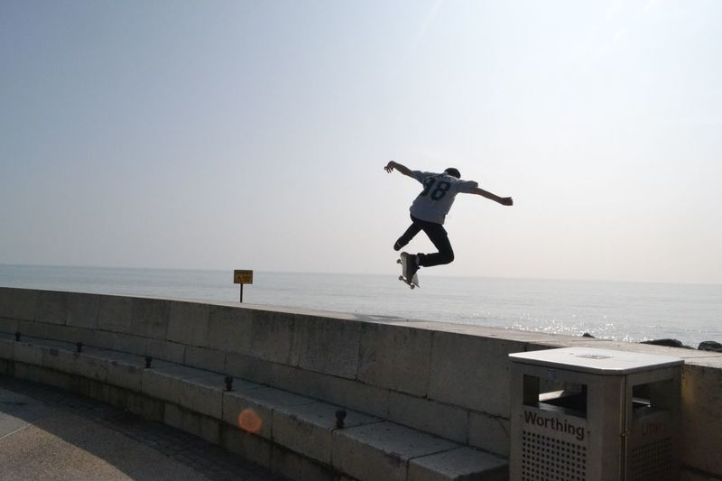 Seaside Skater Mid-air Jumping Skateboard Lifestyles Young Adult Worthing Beach Sussex Coast Urban