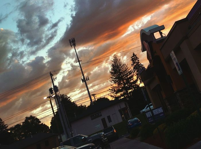 Just bored waiting in line at the drive thru Cloud - Sky Low Angle View