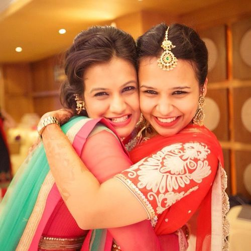 Happy sisters. Kriti and Noopur on her sangeet night. What fun! - Strange Sadhu Weddings More beautiful pictures at www.StrangeSadhu.net Coloursofindia Incredibleindia Incredible_india India Wedding IndianWedding Weddingseason Weddingphotography Artisticphotography CandidWeddings Weddingfilms Hug Pretty Sisters Siblings Lehanga Indiandress Indianjewellery Weddingdecor WeddingJewellery Love Family