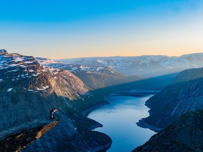Trolltunga Passion Hikingadventures Campinglife Camping Naturelovers Nature On Your Doorstep Nature Love Passion Sky Beauty In Nature Water Scenics - Nature Nature Clear Sky Tranquil Scene Mountain Blue Winter Tranquility Mountain Range High Angle View Idyllic Human Connection My Best Photo