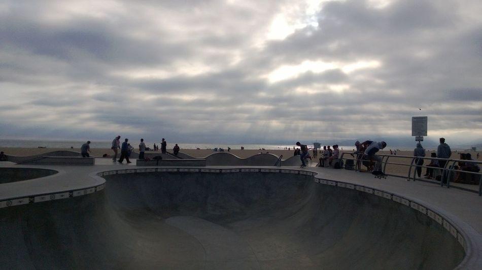 Beach Cloudy Day Landscape Leisure Activity Lifestyles Skate Boarding  Skate Park Skaters Sky Storm Cloud Tourism Venice Beach