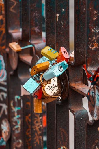 Close-up of locks on gate