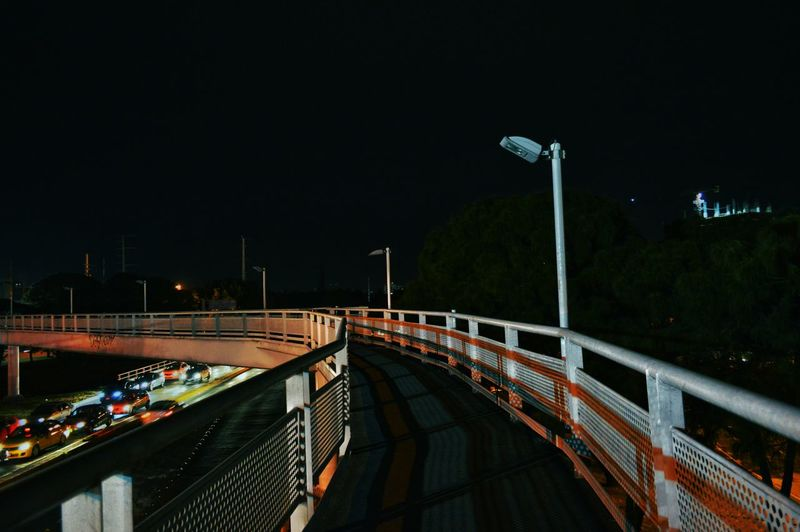 View of elevated road at night