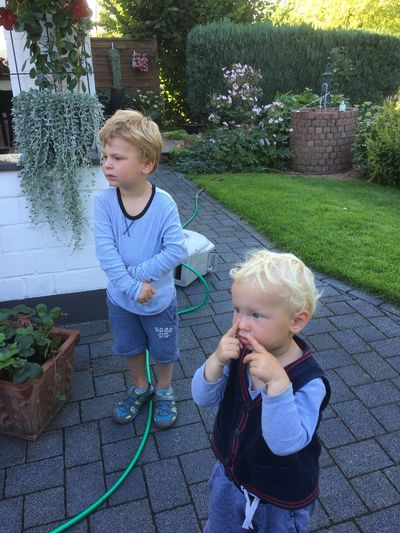 Waiting Waiting Of Icecream Childhood Child Boys Two People Family Front Or Back Yard Plant Toddler  Togetherness Outdoors Girls Males  Blond Hair Son Cute Family With Two Children Full Length People Learning Day Little Childs Childs Children
