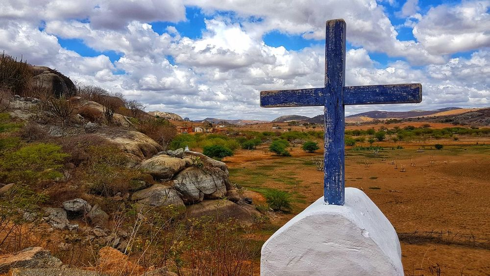 Praying for water #Dam #dryland #savewater #photography #Brazil #sky Cross Sky Landscape No People Outdoors