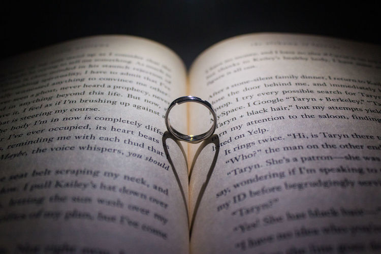 Ring on open book against black background