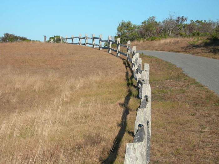 Split rail fence along path Beauty In Nature Day Diminishing Perspective Field Grass Landscape Nature No People Non-urban Scene Outdoors Pathway Rural Scene Sky Split Rail Fence Sunlight Tranquil Scene Tranquility