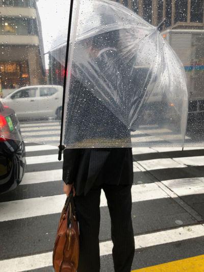 Crosswalk Outdoors Rainy Season Road Umbrella Waiting At The Traffic Light