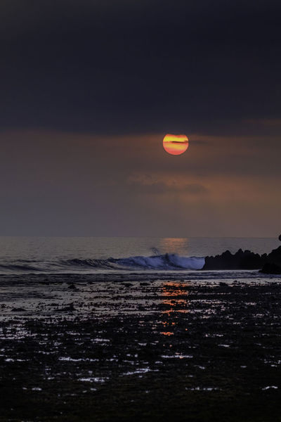 Astrology Sign Astronomy Beach Beauty In Nature Cloud - Sky Horizon Horizon Over Water Illuminated Moon Nature Night No People Outdoors Scenics Sea Sky Sunset Tranquil Scene Tranquility Travel Destinations Water