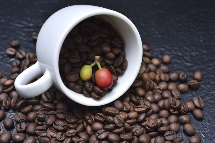 Fragrant pure delicious coffee beans Advanced Coffee Coffee Fruit Pure Bake Bowl Close-up Coffee Bean Coffee Beans Coffee Cup Day Delicious Featured Food Food And Drink Fragrant Freshness Healthy Eating High Angle View Indoors  Need No People Still Life Table