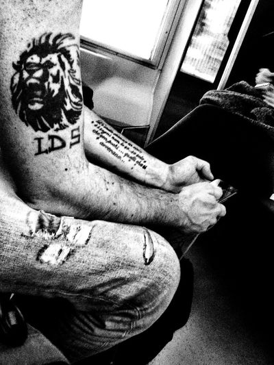 Tattoo Life Train Indoors  Sitting Travel Destinations Black And White Photography Passengers Tattoo Lions LSD Tomilan