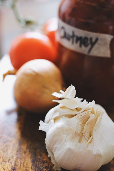 Close-up Freshness Focus On Foreground Food No People Indoors  Day Garlic Tomato Spicy Food Spices Sweet Food Hot Food Still Life Kitchenware Ready-to-eat Onion Vegetable Text Red Chutney Tomatoes Kitchen Kitchen Stories Food And Drink