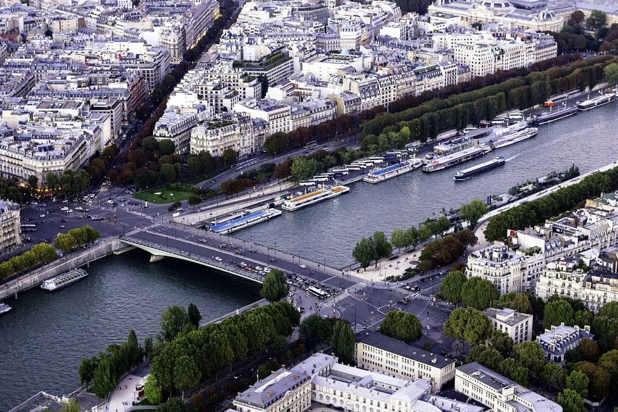 Paris Paris, France  Hello World View From Eiffel Tower France River City View  Cityscapes Paris ❤ Aerial Shot