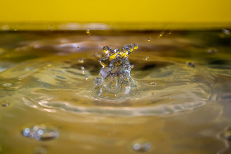 Close-up of drop falling in water