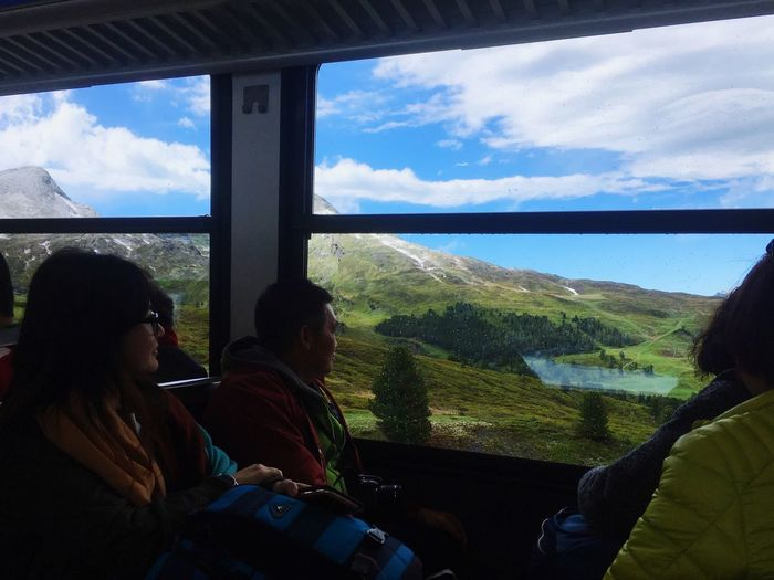 On the train Window Real People Sky Indoors  Day Two People Looking Through Window Cloud - Sky Women Nature Mountain Sitting Lifestyles Transportation Beauty In Nature Landscape Togetherness Technology Tree Friendship