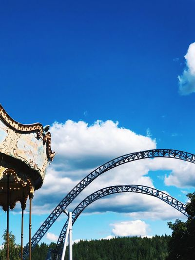 Simple Fresh Summer EyeEmNewHere Carousel Amusement Park Rollercoaster Sky Nature Cloud - Sky Low Angle View Blue Day No People Metal Tree Motion