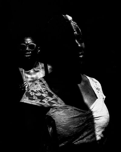 Portrait of people in darkroom