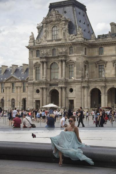 Louvre Mobile Conversations Paris Paris, France  Selfıe Lady Dress Selfie Stick Day Outdoors Architecture Musée Du Louvre Women Around The World
