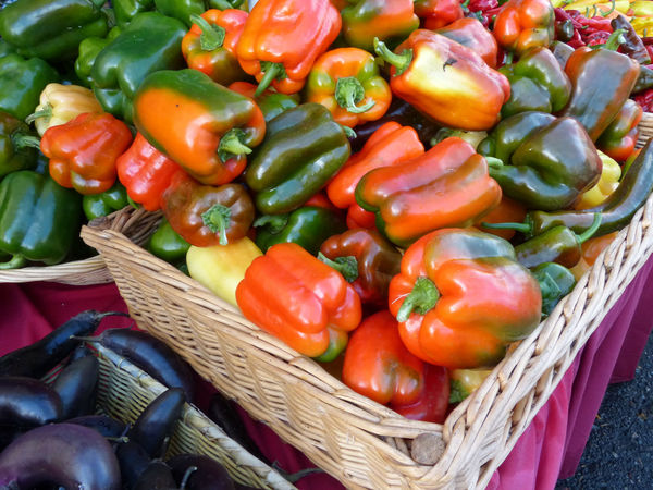 Basket Close-up Collection Colorful Peppers Display Farmers Market Food For Sale Freshness Full Frame Healthy Eating Heap Large Group Of Objects Market Market Stall No People Orange Peppers Organic Peppers Raw Food Red Still Life Variation Vegetable