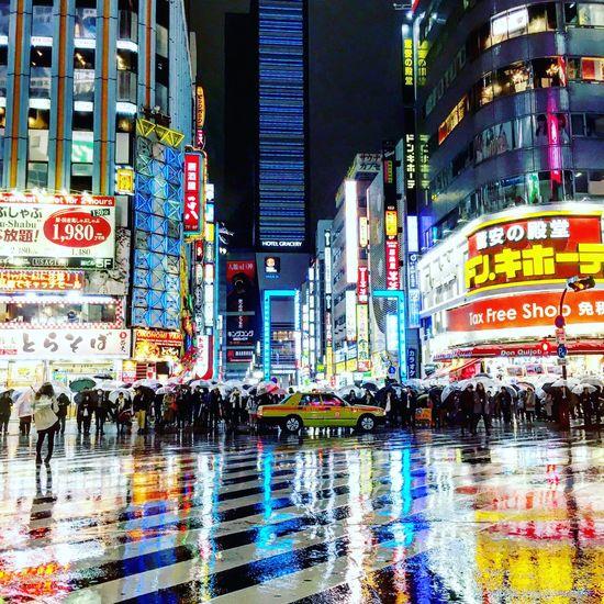 Japan City Illuminated Building Exterior Night Street City Street Neon Architecture Crowd Reflection Nightlife City Life Skyscraper Multi Colored Kabukicho Tokyo Rain Rainy Days Umbrellas EyeEmNewHere