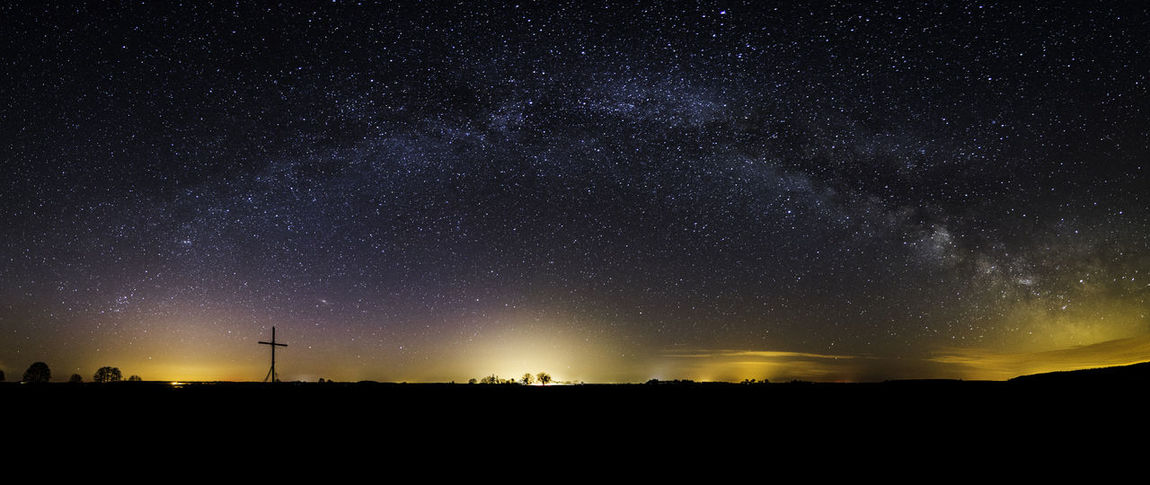 milky way panorama with some northen lights Astronomy Beauty In Nature Galaxy Landscape Milky Way Nature Night No People Northern Lights Outdoors Panorama Poland Sky Star - Space Starry